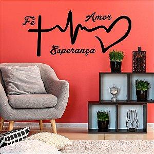 Adesivo Decorativo Frase Fé, Esperança e Amor