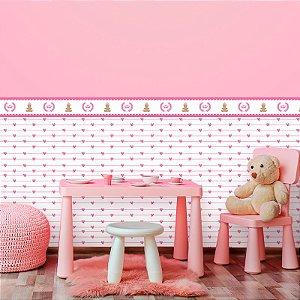 Papel de Parede Infantil Meia Parede Ursinha com Corações Rosa