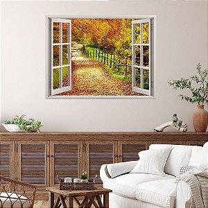 Adesivo Decorativo Janela Folhas de Outono