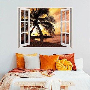 Adesivo Decorativo Janela Por Do Sol Tropical