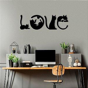 Palavra Decorativa De Parede Love Cats