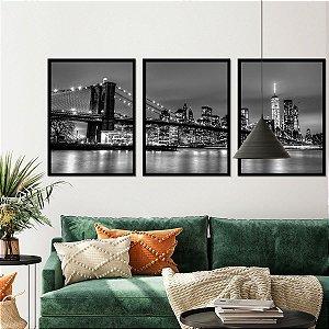 Kit Quadro Decorativo Ponte Do Brooklyn