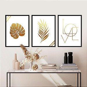 Kit Quadro Decorativo Love Gold