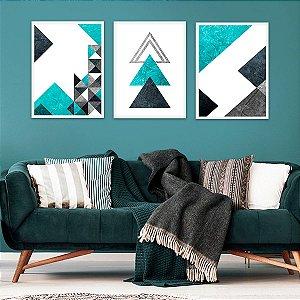 Kit Quadro Decorativo Triângulos Beautiful