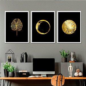 Kit Quadro Decorativo Folha de Ouro