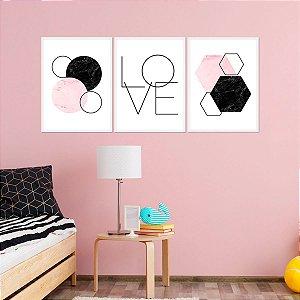 Kit Quadro Decorativo Love Mármore