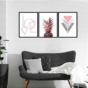 Kit Quadro Decorativo Abacaxi Love Rose