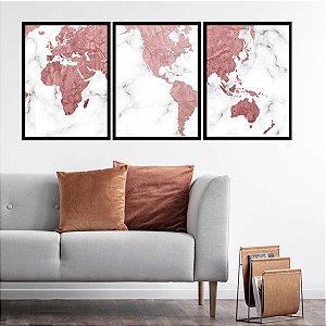 Kit Quadro Decorativo Mapa Mundi Rose Gold Marble