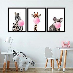 Kit Quadro Decorativo Animals Bubble Gum