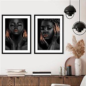 Kit Quadro Mulher Negra Faces Malaika