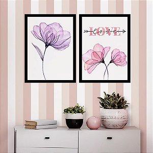 Kit Quadro Decorativo Flores Aquarela Love
