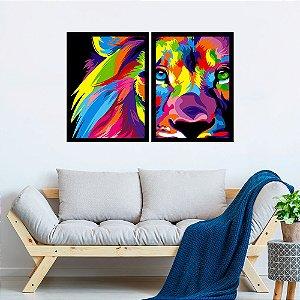 Kit Quadro Decorativo Leão Colorful