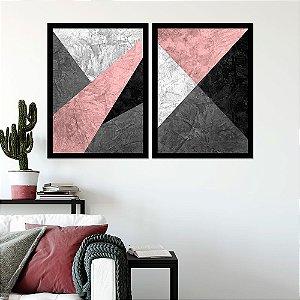 Kit Quadro Decorativo Cimento Queimado Com Rose