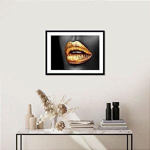 Quadro Decorativo Mulher Negra Boca Dourada Golden Mouth