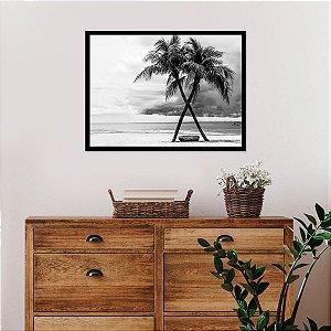 Quadro Praia Preto e Branco Beach Black