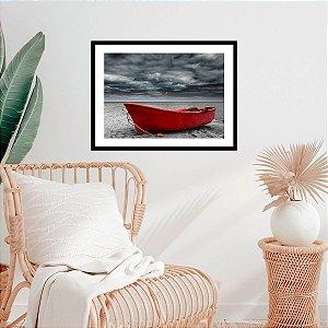 Quadro Decorativo Barco Vermelho