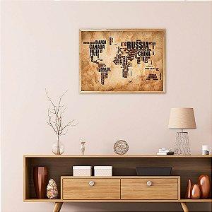 Quadro Decorativo Mapa Mundi Vintage