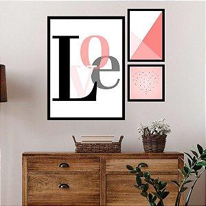 Kit Quadro Decorativo Love Heart Geometric