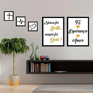 Kit Quadros Decorativos Fé, Esperança & Amor