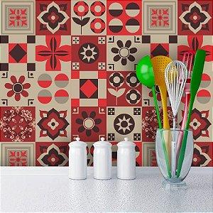 Kit Adesivo Azulejo em Tons de Bege e Vermelho
