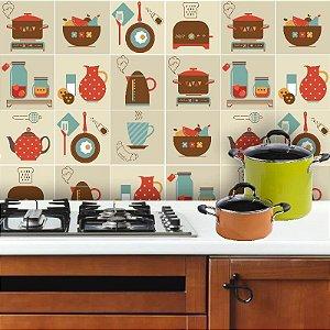 Kit Adesivo Azulejo Utensílios de Cozinha