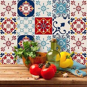 Kit Adesivo Azulejo em Tons de Bege, Amarelo, Azul e Vermelho