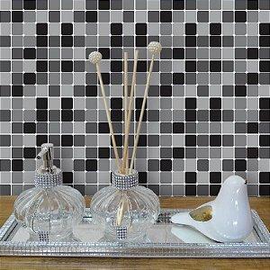 Kit Adesivo Azulejo Estilo Pastilhas em Preto e Cinza
