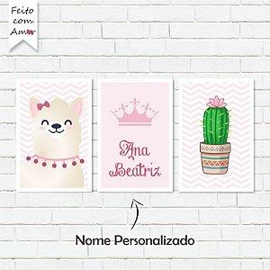 Kit de Placas Decorativas Lhamas Cute