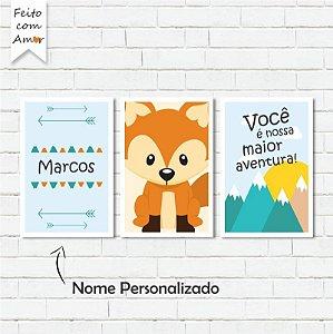 kit de Placas Decorativa Raposa Cute