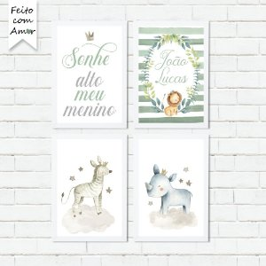 Kit de Placas Decorativas Safari Animais Cute