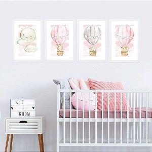 Kit de Placas Decorativas Lua e Balões Cute Rosa