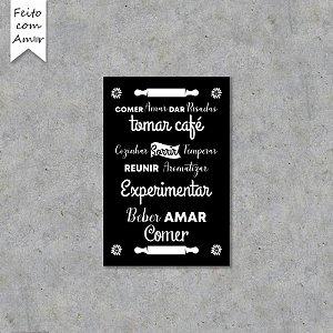 Placa Decorativa Beber, Amar, Comer