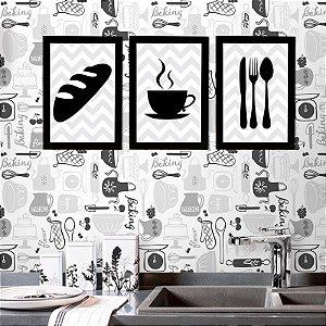 kit de Placas Decorativa Café, Pão e Talheres