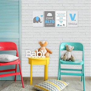 """Kit de Placas Decorativas """" E agora temos Tudo"""", Azul e Cinza"""