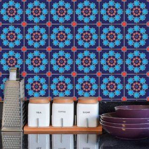 Adesivo de Azulejo Hidráulico Azul e Vermelho