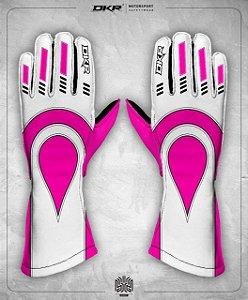 05. Luva Linha Piquet Branco com Rosa