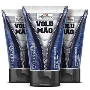 Gel Excitante Masculino Volumão 25gr Hot Flowers - Kit com 3 Unidades