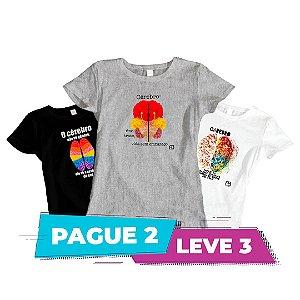Kit 1 - Camisas Baby Look - Cérebro