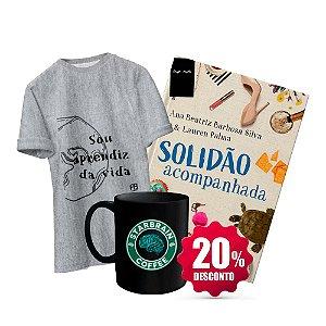 Livro Solidão acompanhada + Camisa Baby Look ou Tradicional - Sou Aprendiz da Vida + Caneca Cérebro Verde - Starbrain Coffee