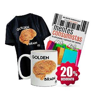 Livro Mentes Consumistas + Camisa Baby Look ou Tradicional (Tamanho e cor opcional)- Golden Brain + Caneca - Golden Brain