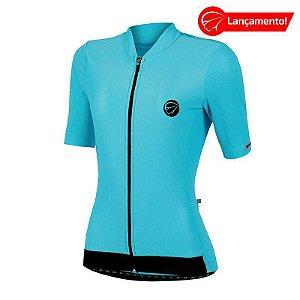 Camisa Ciclismo Feminina Fiber Celeste Mauro Ribeiro (Lançamento 2021)