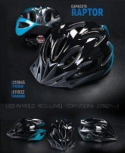 Capacete Raptor Tsw LED Preto/Azul