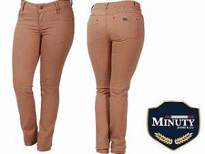 Calça Jeans Minuty Feminina Tradicional Marrom