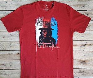 Camiseta Tatanka Masculina Vermelha Sitting Bull