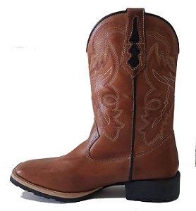 Bota Troia Boots Caramelo Bordado Branco