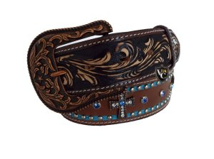 Cinto Masculino Arizona Belts Marrom/Azul Cruz