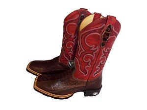 Bota Cp Boots Vermelho Escamada Avestruz Sola Flex