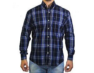 Camisa Tuff Masculina Azul Marinho e Branco 1033L
