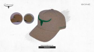 Boné Os Moiadeiros Areia Bordado Verde BM190204