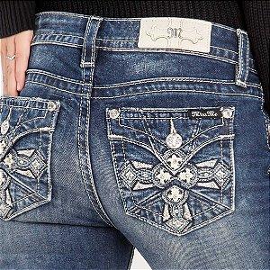 Calça Jeans Miss Me Cruz Bordada